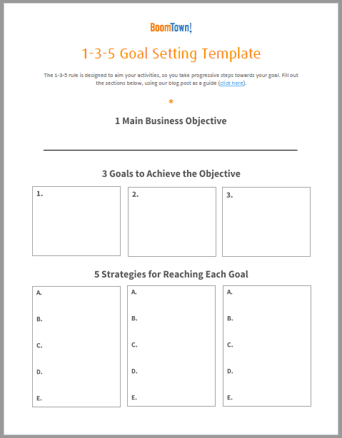 135 Keller Williams Goal Setting Template