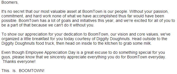 appreciation email to team for good work